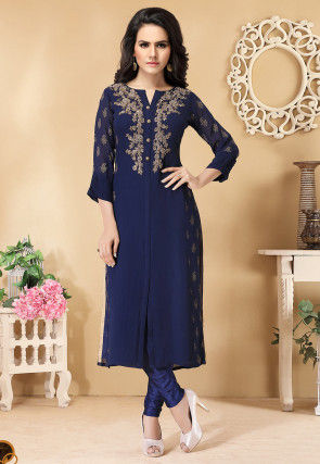 Hand Embroidered Viscose Georgette Straight Kurta in Blue