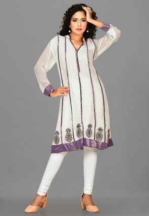 Hand Embroidered Viscose Georgette Straight Kurta in Off White