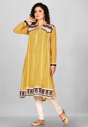 Hand Embroidered Viscose Georgette Straight Kurta in Yellows
