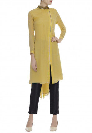Hand Embroidered Viscose Georgette Tunic Set in Yellow