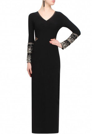 Hand Embroidered Viscose Gown in Black