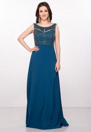 Hand Embroidered Viscose Gown in Teal Blue