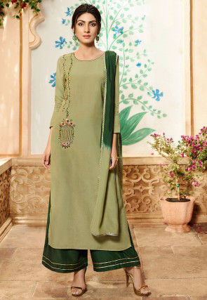 Hand Embroidered Viscose Pakistani Suit in Dusty Green
