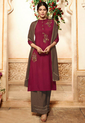 Hand Embroidered Viscose Pakistani Suit in Maroon