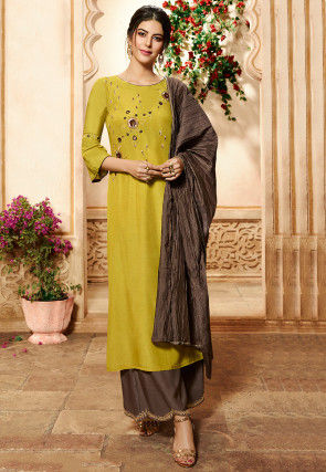 Hand Embroidered Viscose Pakistani Suit in Olive Green