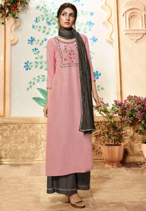 Hand Embroidered Viscose Pakistani Suit in Pink