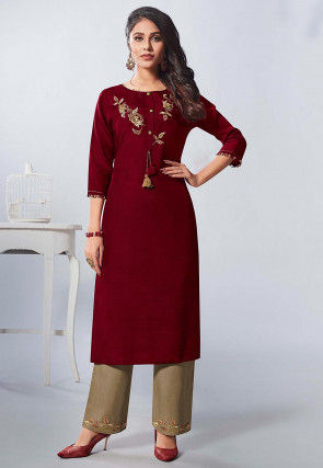 Hand Embroidered Viscose Straight Kurta Set in Maroon