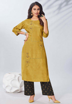 Hand Embroidered Viscose Straight Kurta Set in Mustard