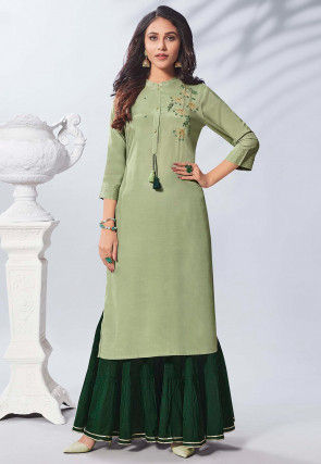 Hand Embroidered Viscose Straight Kurta Set in Pastel Green