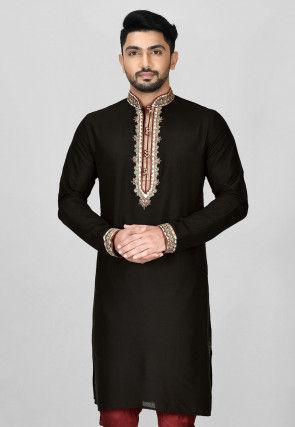 Hand Emroidered Cotton Silk Kurta in Black