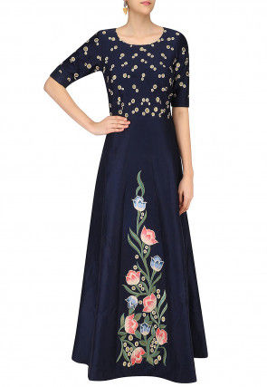 Hand Painted Art Silk A Line Gown in Navy Blue