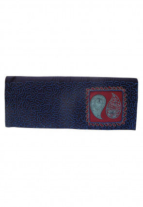 Hand Painted Art Silk Clutch Bag in Navy Blue
