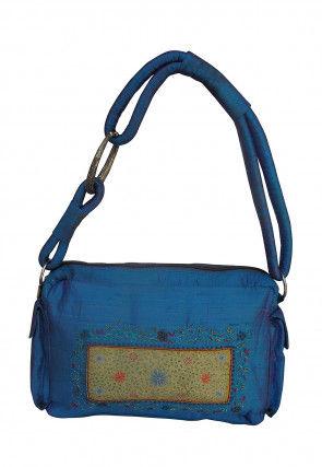 Hand Painted Art Silk Handbag in Blue