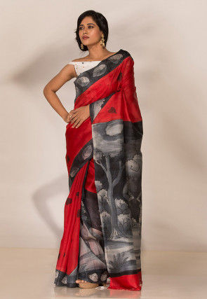 Hand Painted Art Silk Saree in Red
