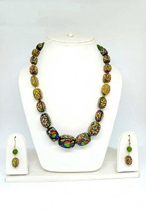 Hand Painted Beaded Necklace Set