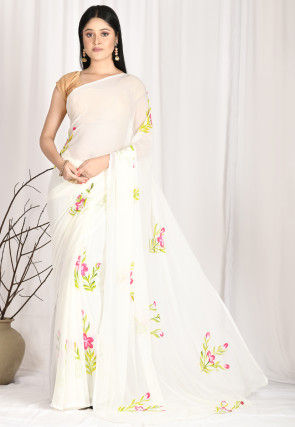 Hand Painted Chiffon Saree in Off White