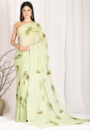 Hand Painted Chiffon Saree in Pastel Green