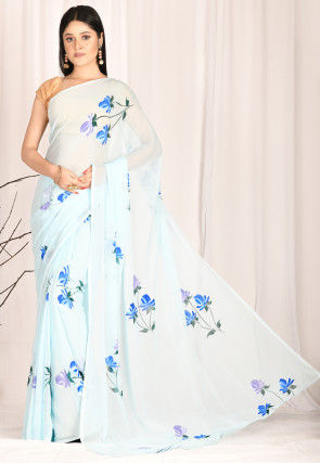 Hand Painted Chiffon Saree in Sky Blue