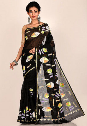 Hand Painted Cotton Saree in Black
