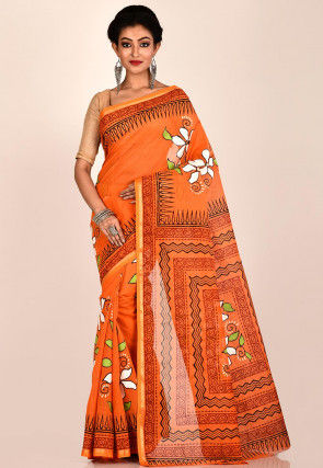Hand Painted Cotton Saree in Orange