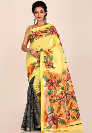 Hand Painted Cotton Saree in Yellow and Grey