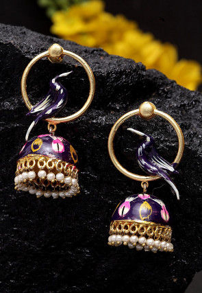 Hand Painted Jhumka Style Earrings