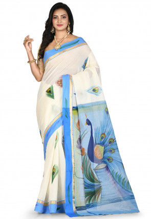 Hand Painted Kerela kasavu Pure South Cotton Saree in Off White