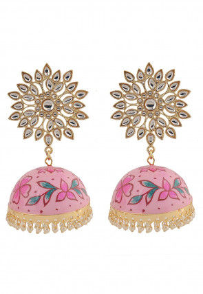 Hand Painted Kundan Jhumka Style Earrings