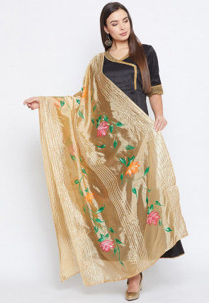 Hand Painted Organza Dupatta in Beige