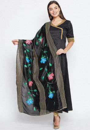 Hand Painted Organza Dupatta in Black