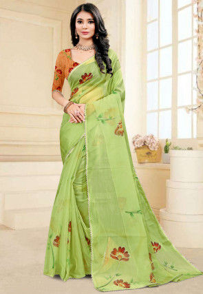 Hand Painted Organza Saree in Green