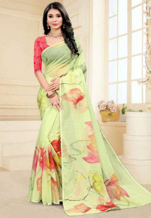 Hand Painted Organza Saree in Light Green