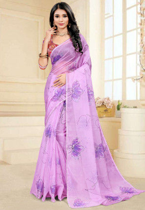 Hand Painted Organza Saree in Light Purple