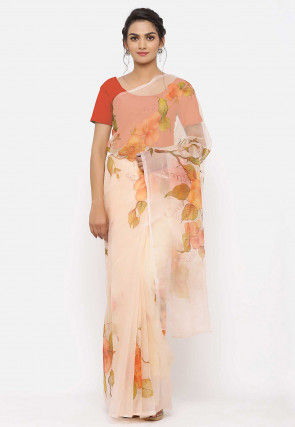 Hand Painted Organza Saree in Peach