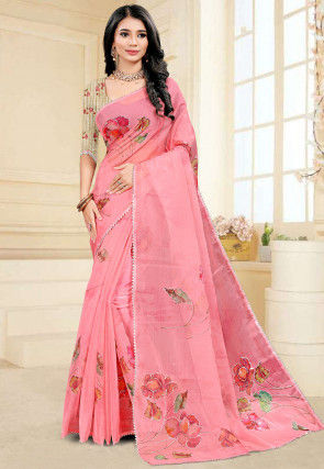 Hand Painted Organza Saree in Pink
