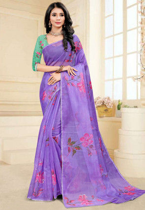 Hand Painted Organza Saree in Purple