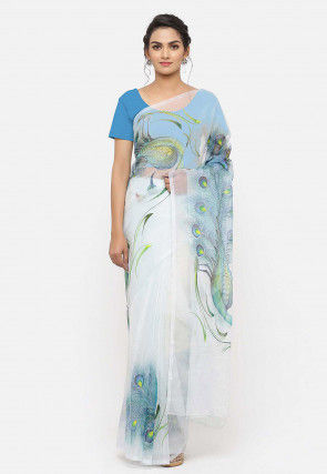 Hand Painted Organza Saree in Sky Blue