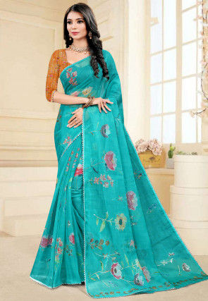 Hand Painted Organza Saree in Turquoise