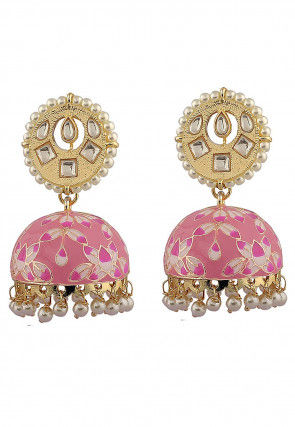Hand Painted Stone Studded Jhumka Style Earrings