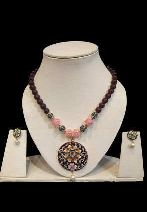 Hand Painted Stone Studded Necklace Set