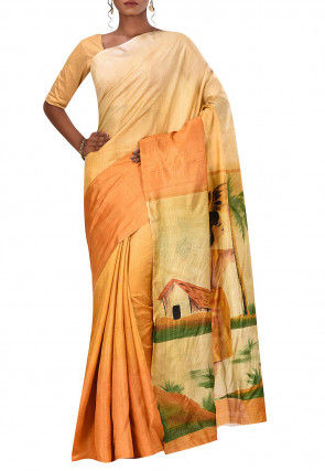 Chattisgarh Hand Painted Tussar Silk Saree in Shaded Mustard