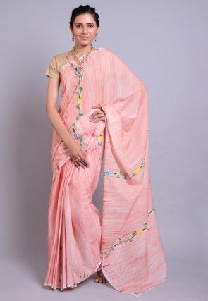 Hand Printed Cotton Saree in Peach