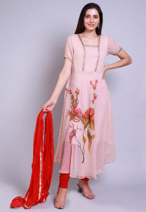 Hand Printed Georgette A Line Suit in Peach