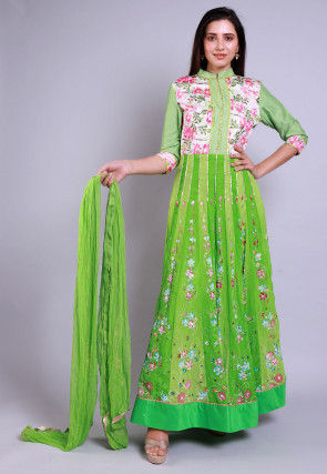 Hand Printed Georgette Abaya Style Suit in Light Green