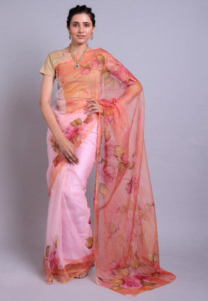 Hand Printed Organza Saree in Peach and Pink