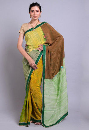 Hand Printed Pure Crepe Saree in Multicolor