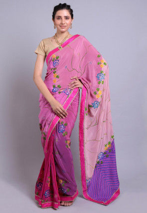 Hand Printed Pure Crepe Saree in Shaded Pink and Purple