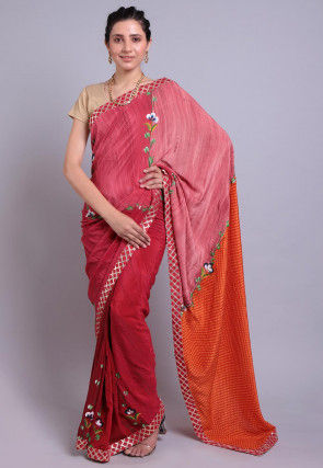 Hand Printed Pure Crepe Saree in Shaded Red
