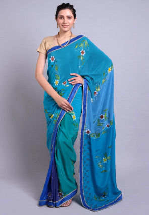 Hand Printed Pure Crepe Saree in Teal Blue