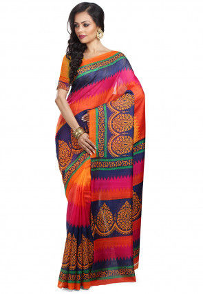 Handloom Art Silk Printed Saree in Orange